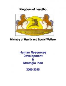 Human Resources Development & Strategic Plan - World Health ...