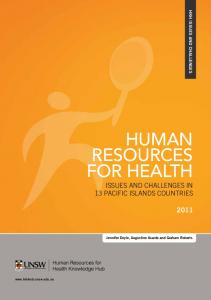 human resources for health - School of Public Health and Community ...