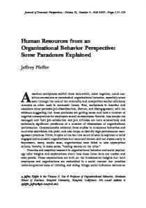 Human Resources from an Organizational Behavior Perspective ...
