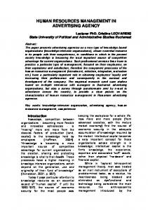 human resources management in advertising agency - Revista ...