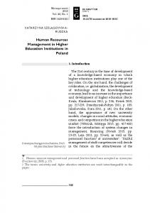Human Resources Management in Higher Education ... - Sciendo