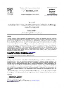 Human resources management main role in information technology ...