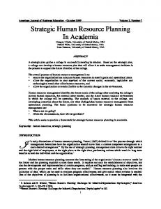 Human Resources Planning - ERIC