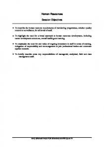 Human Resources Session Objectives