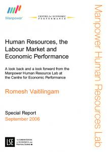 Human Resources, the Labour Market and Economic Performance