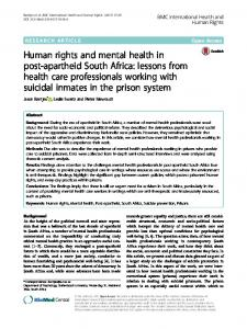 Human rights and mental health in post-apartheid South Africa ...