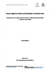 Human Rights to Water and Sanitation in Burkina Faso