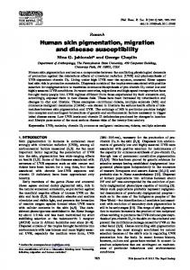 Human skin pigmentation, migration and disease susceptibility