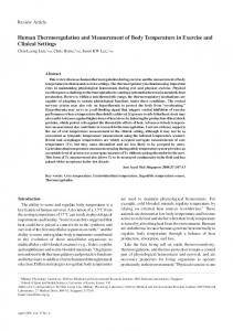 Human Thermoregulation and Measurement of Body ... - CiteSeerX