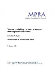 Human trafficking in Asia: a heinous crime against humanities