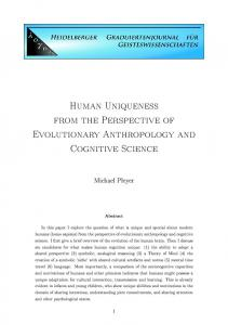 Human Uniqueness from the Perspective of Evolutionary ...