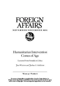 Humanitarian Intervention Comes of Age