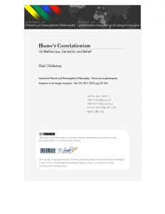 Hume's Correlationism - Journal of French and Francophone Philosophy