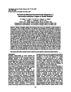 Humoral and Mucosal-Humoral Immune Response to a ... - CiteSeerX
