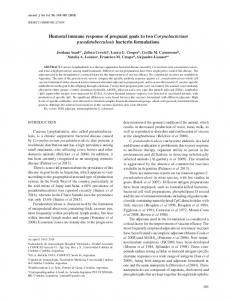Humoral immune response of pregnant goats to two ... - SciELO