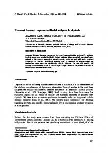 Humoral immune response to filarial antigens in chyluria - Springer Link