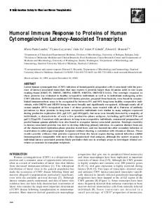 Humoral Immune Response to Proteins of Human Cytomegalovirus ...
