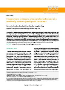 Hungry bone syndrome after parathyroidectomy ... - KoreaMed Synapse