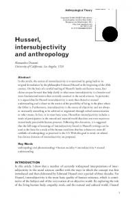 Husserl, intersubjectivity and anthropology - Social Sciences Division