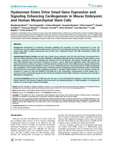Hyaluronan Esters Drive Smad Gene Expression and ... - CiteSeerX