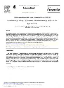 Hybrid Energy Storage Systems for Renewable ...