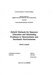 Hybrid Methods for Resource Allocation and Scheduling ... - AI @ UniBO