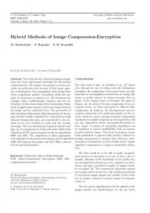 Hybrid Methods of Image Compression-Encryption - CiteSeerX