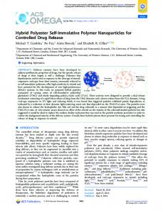 Hybrid Polyester Self-Immolative Polymer ... - ACS Publications