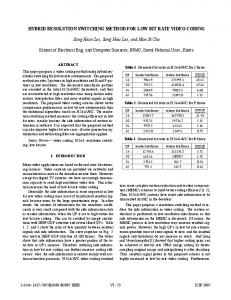 Hybrid Resolution Switching Method for Low Bit Rate ... - IEEE Xplore