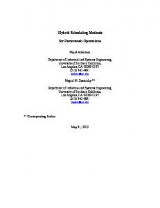 Hybrid Scheduling Methods for Paratransit Operations - University of ...