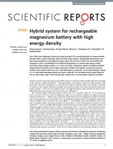 Hybrid system for rechargeable magnesium