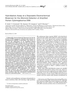 Hybridization Assay at a Disposable Electrochemical ... - ScienceDirect