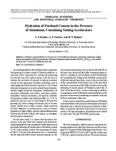 Hydration of Portland Cement in the Presence of ... - Springer Link