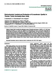 Hydrochemical Analysis and Evaluation of Groundwater ... - MDPI