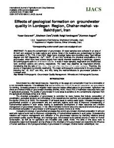 Hydrochemical characteristics and groundwater quality assessment in ...