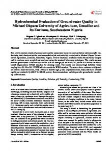 Hydrochemical Evaluation of Groundwater Quality in Michael Okpara ...