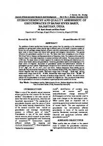 hydrochemistry and quality assessment of groundwater in banas river ...