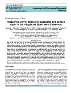 Hydrochemistry of shallow groundwater and surface water - CiteSeerX