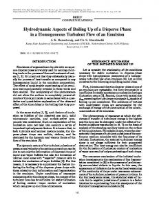 Hydrodynamic Aspects of Boiling Up of a Disperse ... - Springer Link