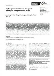Hydrodynamics of larval fish quick turning: A ... - SAGE Journals