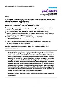 Hydrogels from Biopolymer Hybrid for Biomedical, Food, and ... - MDPI