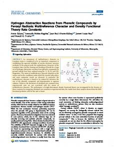 Hydrogen Abstraction Reactions from Phenolic ... - ACS Publications