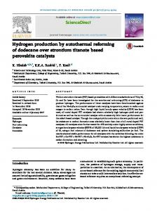Hydrogen production by autothermal reforming of