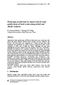 Hydrogen production by supercritical water ...