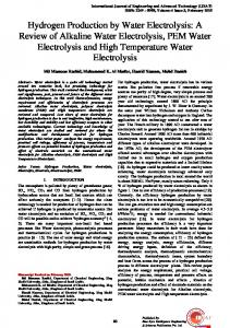 Hydrogen Production by Water Electrolysis: A Review ...