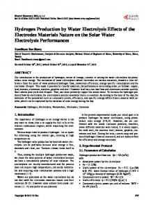 Hydrogen Production by Water Electrolysis Effects of ...