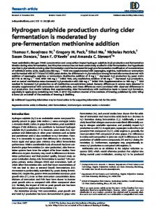 Hydrogen sulphide production during cider ... - Wiley Online Library