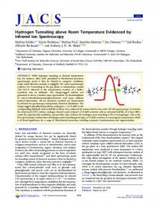 Hydrogen Tunneling above Room Temperature ... - ACS Publications