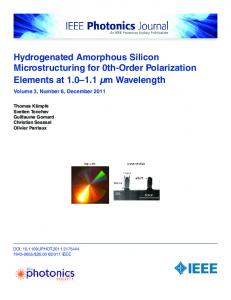 Hydrogenated Amorphous Silicon Microstructuring for ... - IEEE Xplore