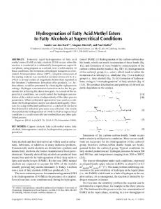 Hydrogenation of Fatty Acid Methyl Esters to Fatty Alcohols at